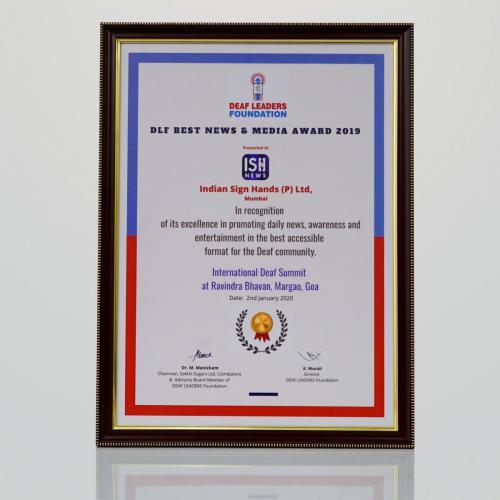 Deaf Leaders Foundation Excellence Award 2019