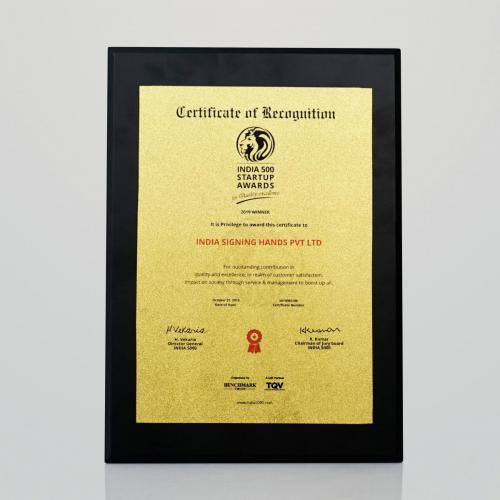 India 500 StartupAwards2019 (Certificate)